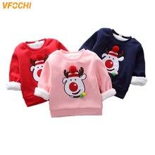 VFOCHI New Girl Sweatshirts Winter Christmas Reindeer Velvet Thick Children Long Sleeves Sweatshirt Unisex Boy Girls