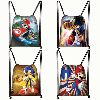 Cartoon Mario / Sonic Print Drawstring Bag Boys Girls Storage Bags Teenager Casual Backpack Kids Bookbag Gift