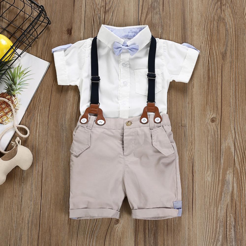 Summer Baby Toddler Boys Clothing Set Suit Shorts Shirt Formal Party Wedding