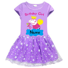 Genuine Authority Peppa Pig Child Girl Dress Cotton Cartoon Stars Hem Short Sleeve Stars Print Princess Dress cartoon goose print ruffle hem cami dress