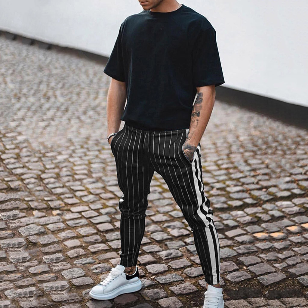 Men's Autumn Winter Striped Elastic Waist Casual Trousers Slim Pants Streetwear Pantalones Hombre Sweatpants Joggers Plus Size