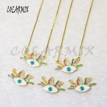 10 strands Eye pendants necklace enamel colors rainbow crystal charm necklace  pendants necklace accessories for women 5966