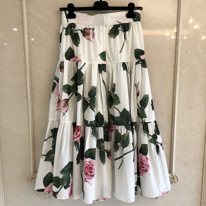 Women Flower Mid Skirt 2020 New Summer Casual Bright Cotton Ladies Long Skirts Elastic Waist Skirt Femme