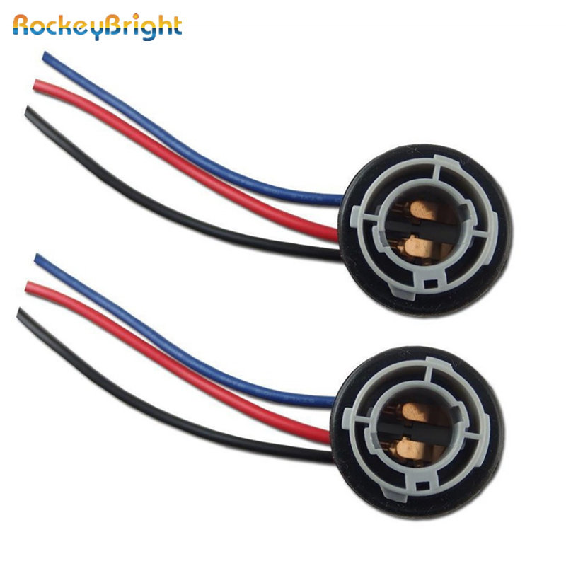 2Pc BAY15D 1157 LED Light Bulb Socket Holder with Wire Connector for Car Auto Truck