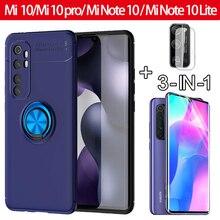3 en 1, cristal + funda mi Note 10 lite mi10 pro case anillo magnético funda xiaomi mi 10 pro carcasa de silicona case para Mi Note10 Mi 10pro