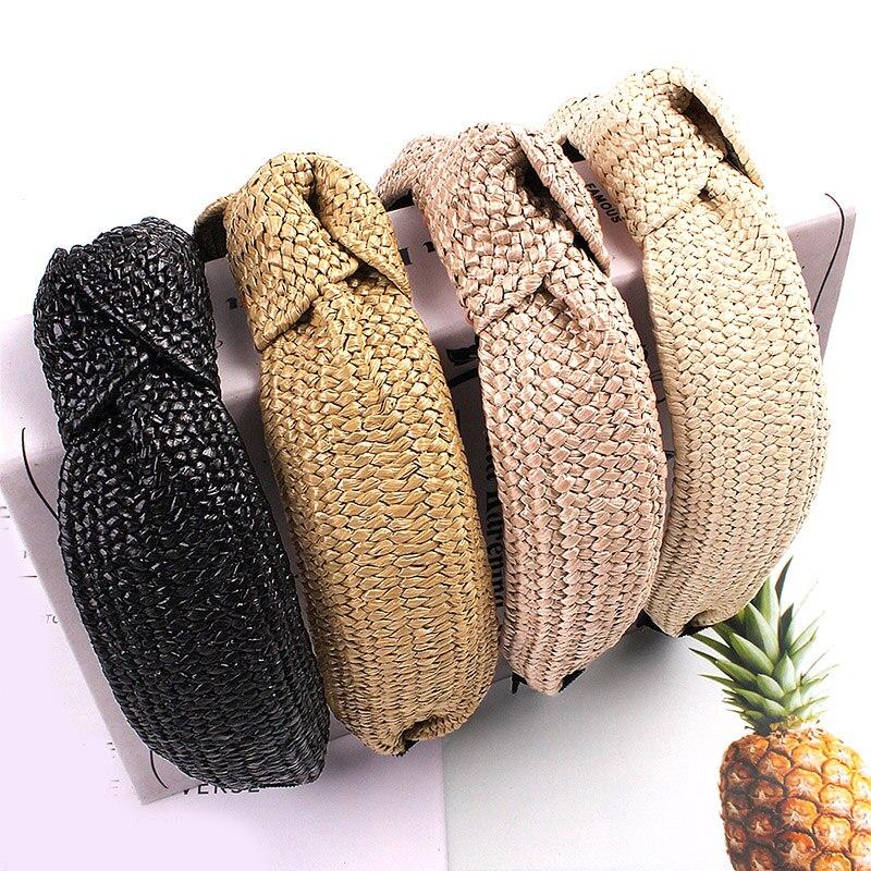 Boho Women Handmade Headband Weaving Straw Cross Knotted Turban Hairband Bohemian Wide Hair Band Hoop Sweet Hair Accessories