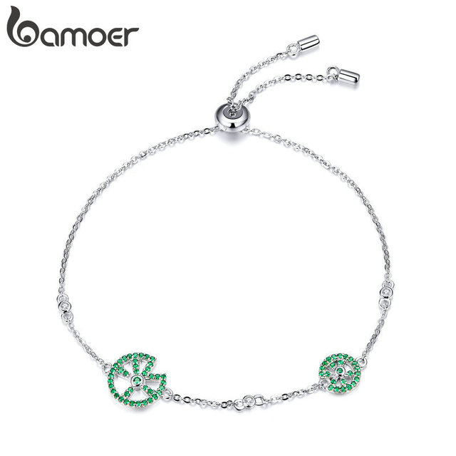 bamoer Funny Lotus Leaf Bracelet for Women Exquisite Design Sterling Silver 925 Jewelry Engagement Jewelry Gifts BSB006
