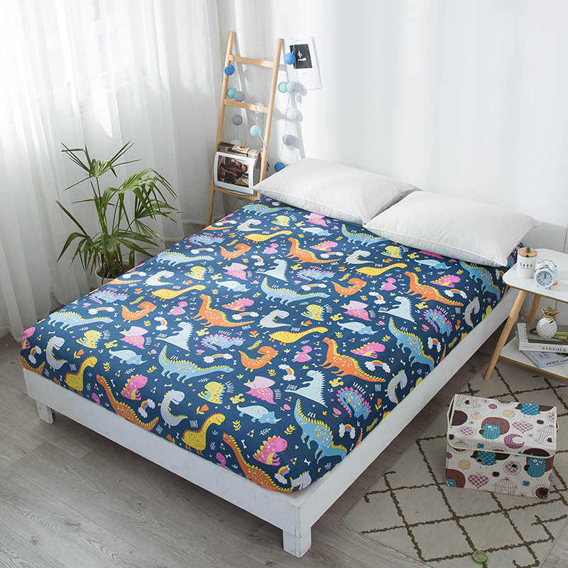 Bonenjoy Kids Bed Sheet Dinosaur Printed Fitted Sheet Queen Size Mattress Cover Protector Single Bed Sheet with Elastic