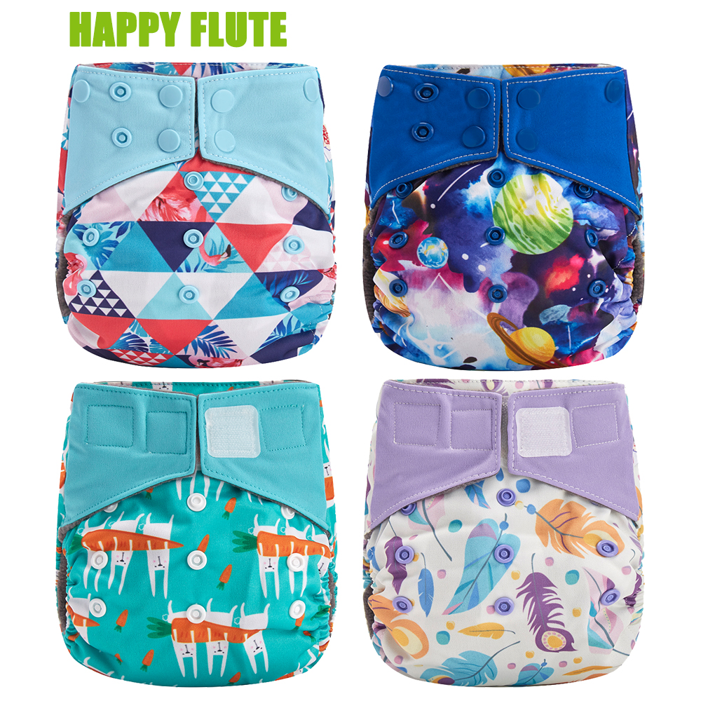 Happy Flute Overnight AIO Cloth Diaper Night Use Heavy Wetter Baby Diapers Bamboo Charcoal Double Gussets Fit 5-15kg