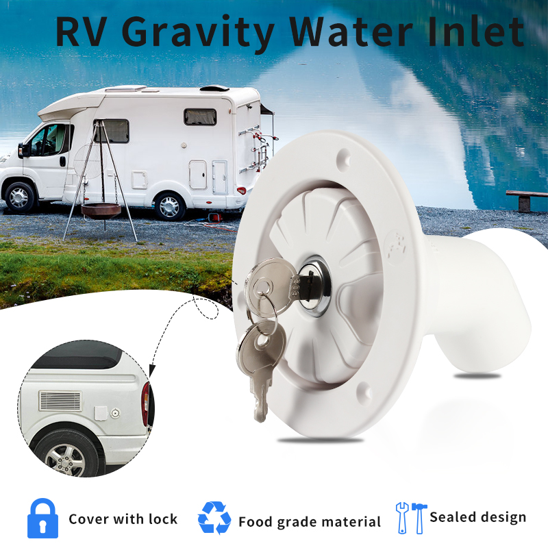 RV Accessories Gravity Fresh Water Fill Hatch Inlet Filter Lockable For RV Boat Camper Trailer White Caravan Accessories(China)