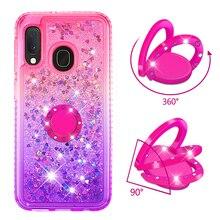 Funda de teléfono para Samsung Galaxy A10e A20e A60 M40 cubierta TPU Bling Giltter Quicksand líquido diamante anillo soporte de dedo Funda coque