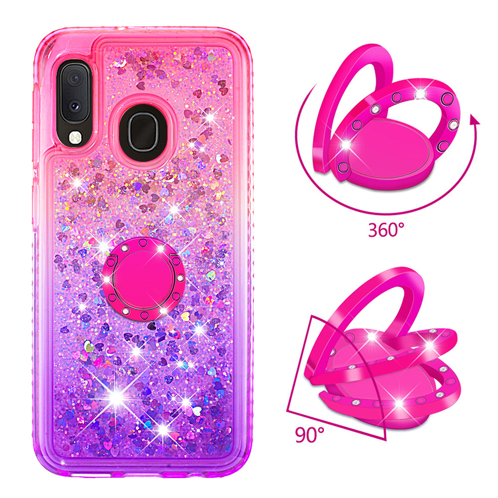 Phone Case for Samsung Galaxy A10e A20e A60 M40 Cover TPU Bling Giltter Quicksand Liquid Diamond Bracket Finger Ring Funda Coque-in Fitted Cases from Cellphones & Telecommunications