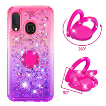 Phone Case for Samsung Galaxy A10e A20e A60 M40 Cover TPU Bling Giltter Quicksand Liquid Diamond Bracket Finger Ring Funda Coque