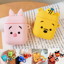 For AirPods Case Cute Cartoon Protective Cover Wireless Earphone Case For Air pods 2 Headphone case with Finger Ring Strap cover(China)