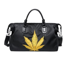 Leaf Embroidery  Popular Travel Tote Premium Oxford Waterproof Urban Commuter Duffle Sport Gym Dar and Wet Shoes Department