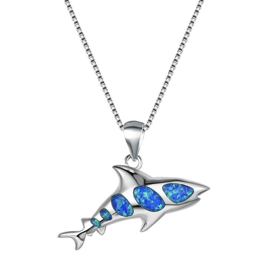 SKU-01-Blauer Opal Shark Haifisch mit Halskette Geschenk
