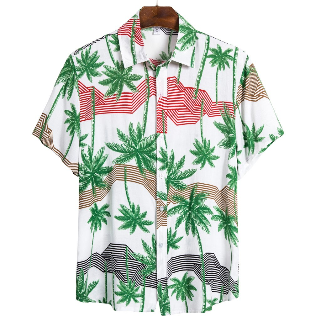 Men T-Shirts Tops Casual Print Beach Palms Blouses Spring Summer Fashion Mens Letter Printing Shirt Short Sleeve Casual T-Shirt Blouse Tops