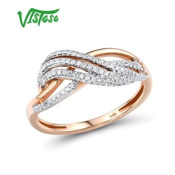 VISTOSO-anillo de oro rosa 585 y Diamante brillante para mujer, sortija de...