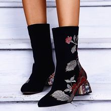 Размер 43; Обувь с вышивкой; Женские ботинки; Сезон зима осень;