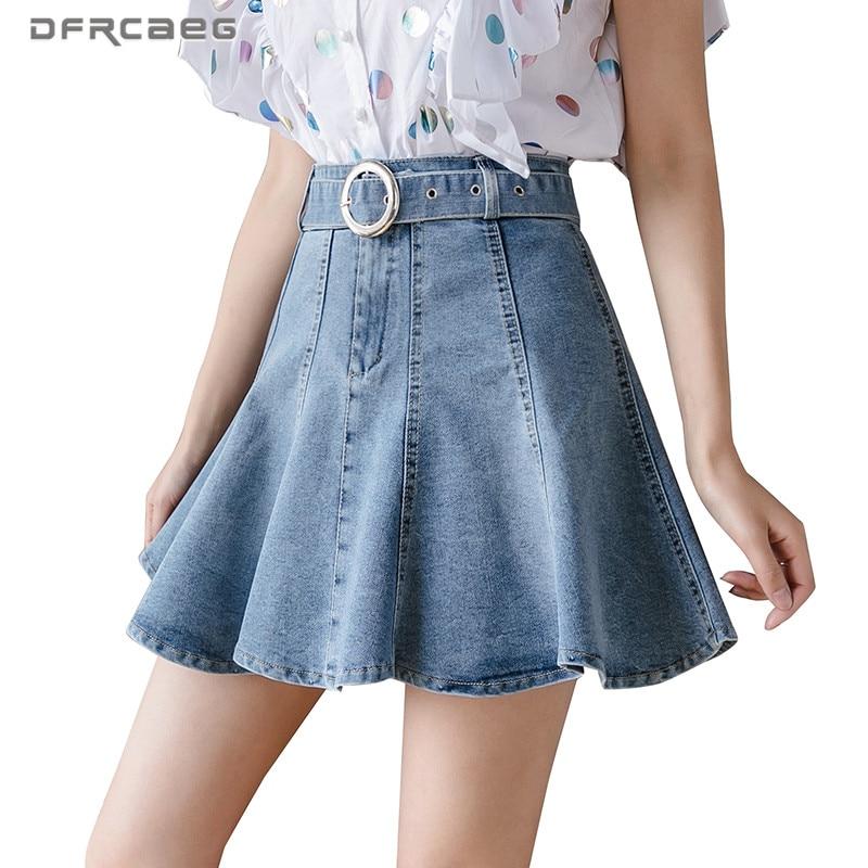 High Waist Strench Summer Short Jeans Skater Skirts Womens 2020 Preppy Style Vintage Denim Pleated Skirt Femme Saia Faldas(China)