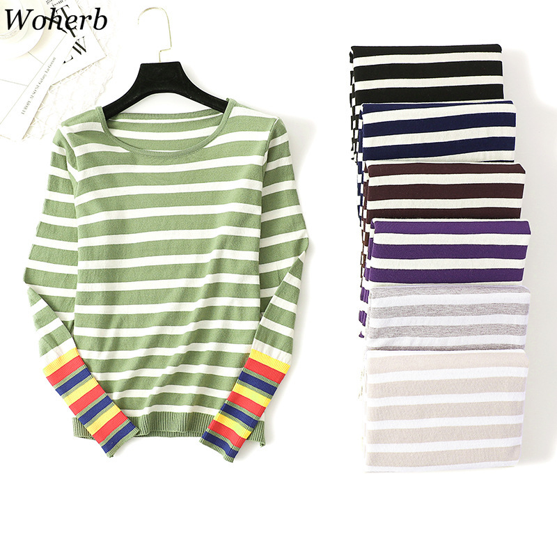 Woherb Knitted Sweater Women 2020 Fashion Striped Autumn Winter Pull Korean Contrast Sweaters Female Casual Jumper And Pullover