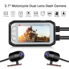 купить Dual Lens 2.7 LCD Waterproof Motorcycle Camera DVR Dash Cam HD 1080P DV124 130° Moto Dash Camera Electronics Parking Monitor дешево