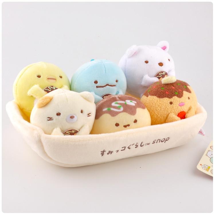 1 Set Kawaii Japanese Sumikko Gurashi Corner Bio Plush Keychain Pendant Soft Cartoon  Creature Stuffed Animals Toys Doll