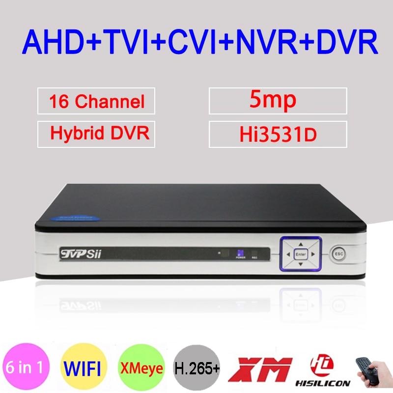 5MP 4MP Sliver Panel HI3531D H.265+ Xmeye 16CH 16 Channel 6 in 1 WIFI Hybrid Coaxial ONVIF TVi CVI IP NVR AHD CCTV DVR