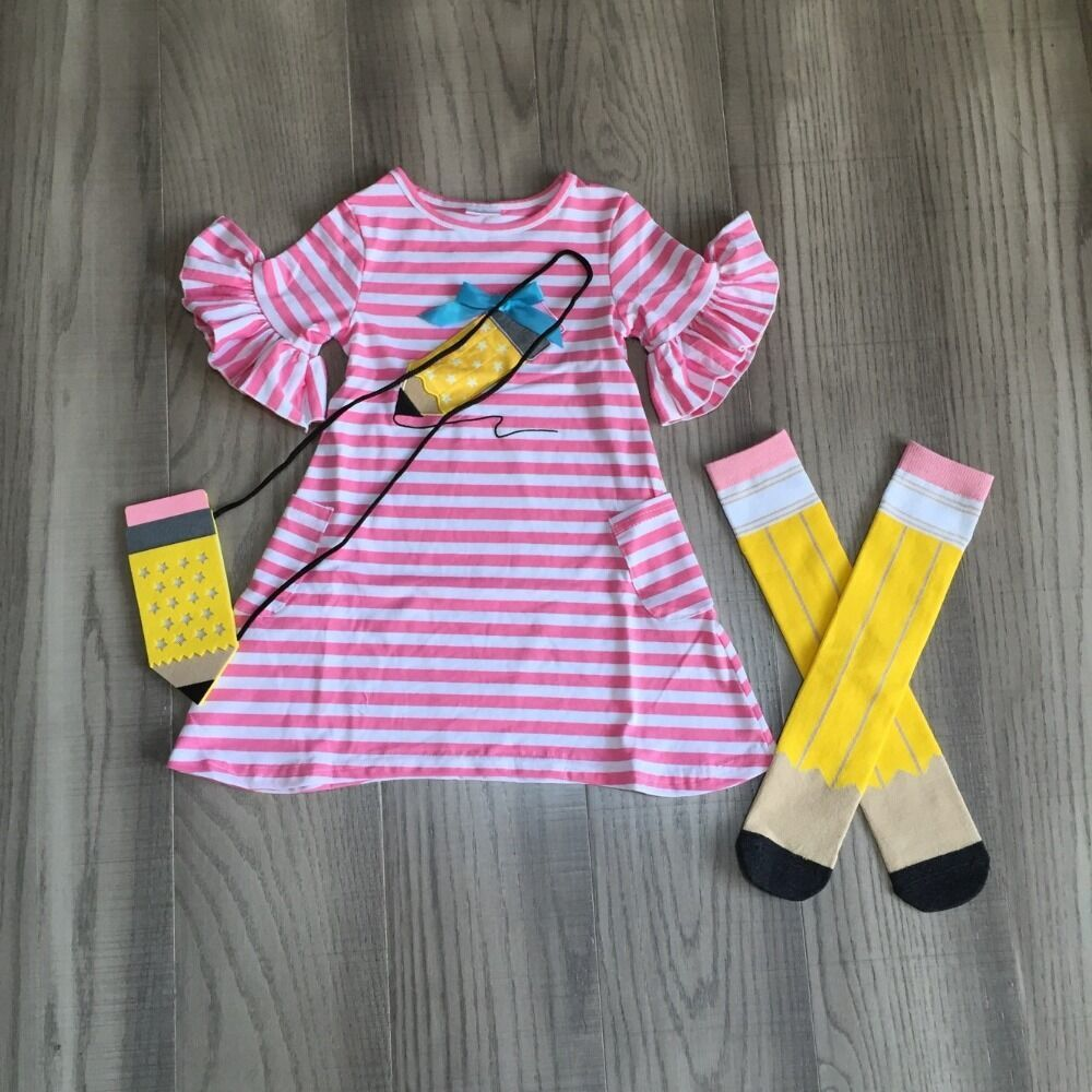 Baby Girls Back To School Dress Student Outfits Girls Stripe Pink Dress With Pencil Print Pencil Purse ,stocking