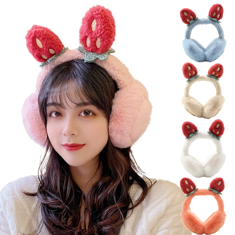 Women Winter Fluffy Plush Earmuffs Cartoon Strawberry Foldable Ear Warmers Cover 50PF