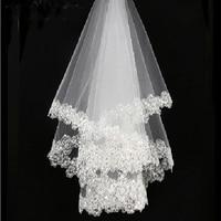 2021 New Arrival White 1.5m Lace Applique Edge Bridal Wedding Veils Bride Veils Wedding Accessory On Sale 1