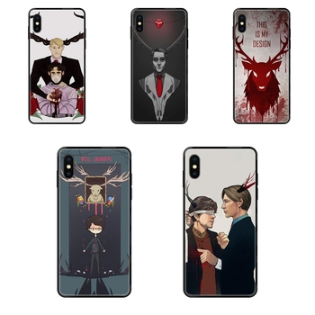 Black Soft TPU Ultra Thin Cartoon Pattern Websites Graham Hannibal Mads Mikkelsen For Xiaomi Mi Note A1 A2 A3 5 5s 6 8 9 10 SE image