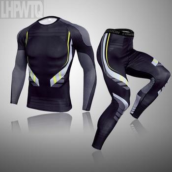 tracksuit Men Rashgarda MMA Long sleevets t shirt Men's Compression suit Camouflage Teen Fitness shirt Thermal underwear set