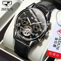 Jsdun-男性用自動巻き時計,高級革,機械式スポーツ,防水,男性