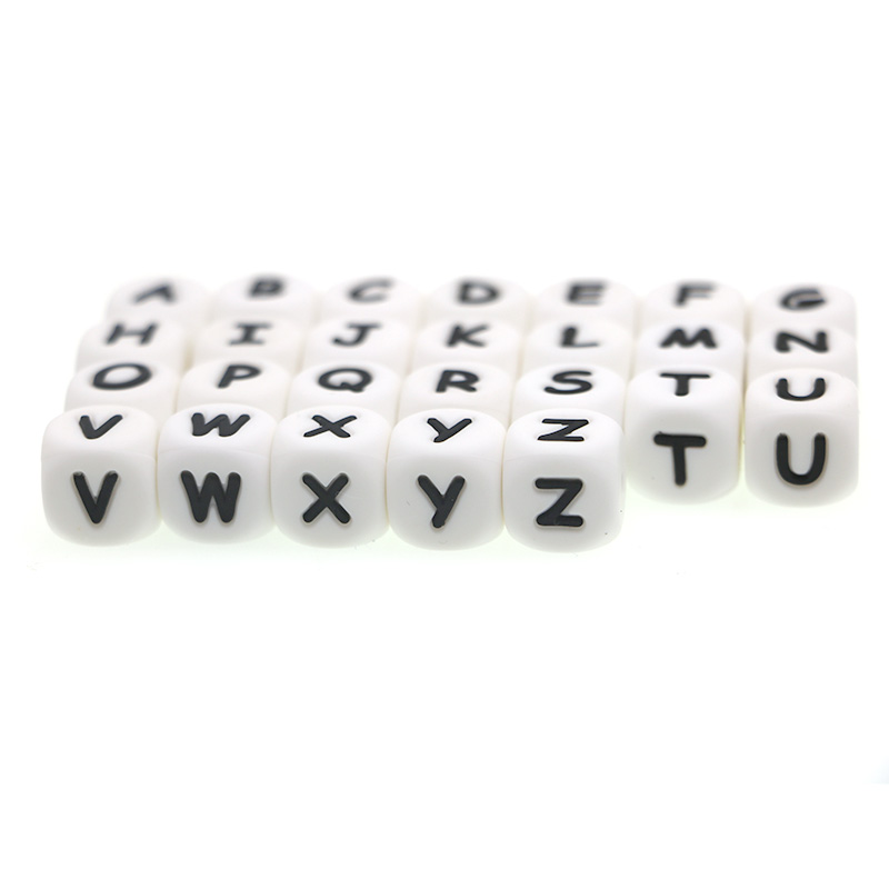 Kovict Letter Silicone Beads Baby-Teether-Beads Alphabet Chewing Personalized 12mm