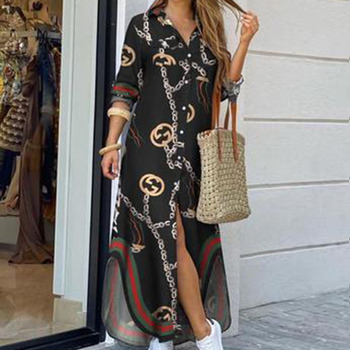 Fashion Women Long Sleeve Shirt Dress Autumn  Printed OL Long Dresses Laides Turn-down Collar Loose Sundress Party Dresses autumn summer new women shirt dress long sleeved female dresses slim fashion party office lady sundress plus size casual rob