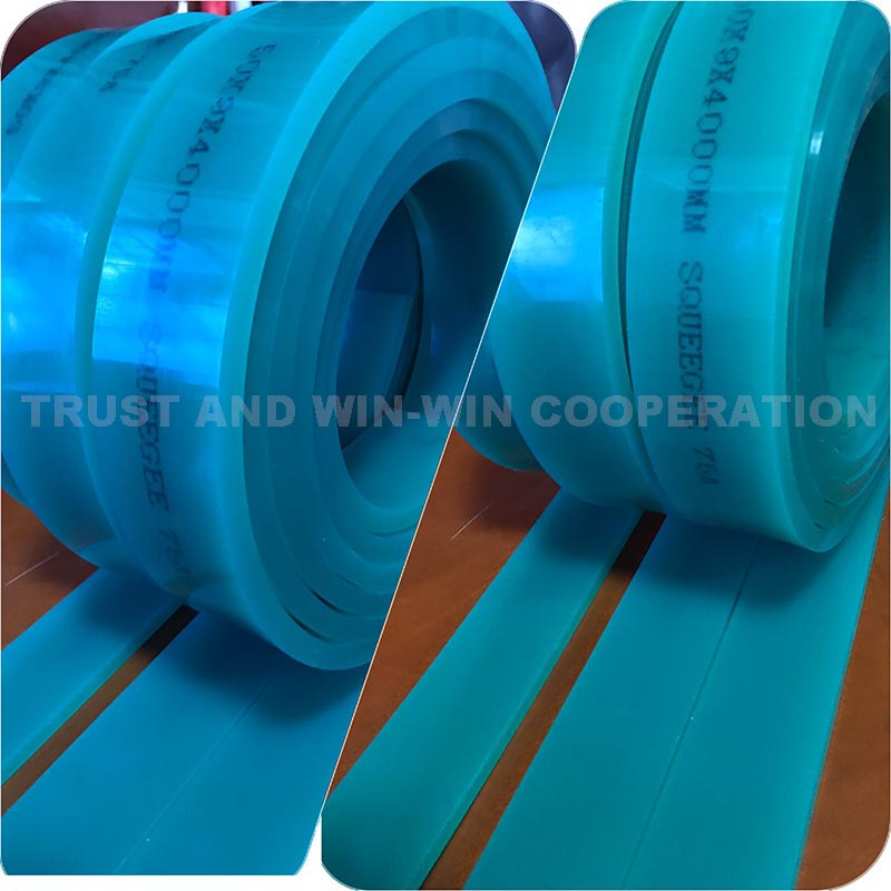 Free shipping  Green 50mm 9mm 4000mm Screen Printing Flat Squeegee Rubber 75A Durometer