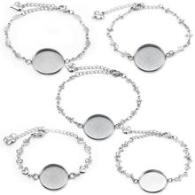 5 шт. браслет из нержавеющей стали, круглый кабошон, 20 мм, камея для браслетов, заготовки лотков, ободок, настройки, сделай сам, изготовление ювелирных изделий
