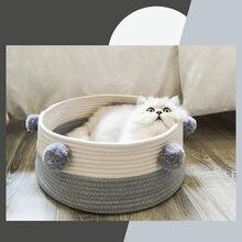 Casa de algodão com veludo universal redondo gato cama cesta ninho corda algodão tecido morno pet dormir cama casa coçar tapete almofada