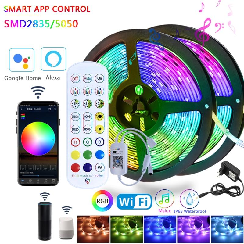 Умная светодиодная ленсветильник RGB SMD 2835/5050S, водонепроницаемая войлочная лента 5 м, 10 м, 12 В постоянного тока, управление музыкой, Wi-Fi, работа...