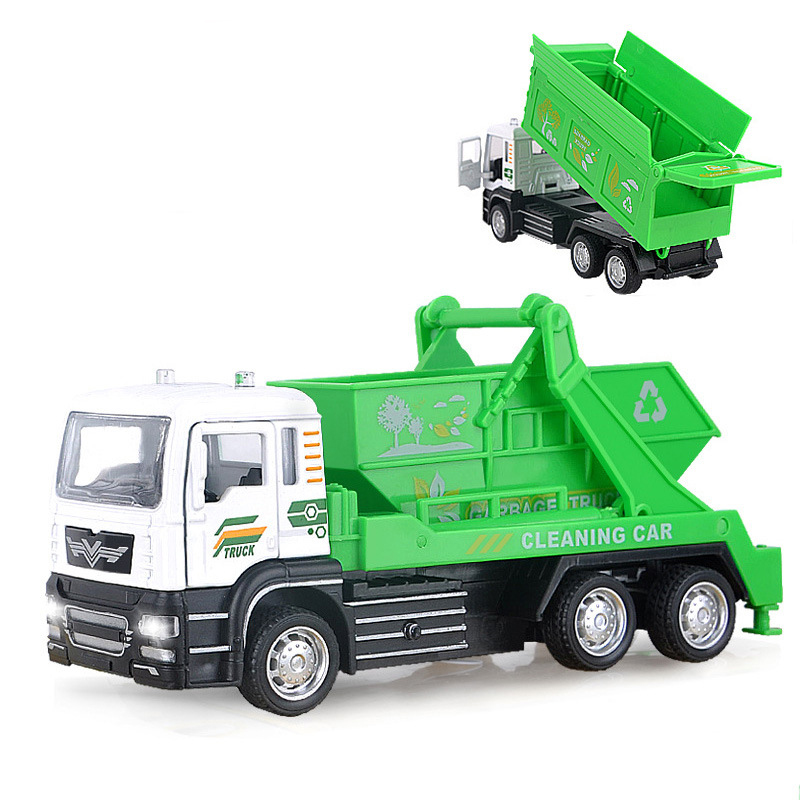 1:55 Children Alloy Pull Back Car Sanitation Garbage Truck Toy Simulation & Rubbish Truck Cleaning Car Model Role Gifts NTY0107