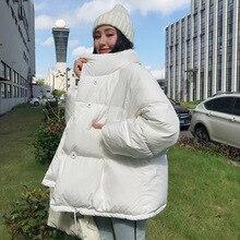 Женская куртка с воротником-стойкой, однотонная черная или белая свободная короткая парка большого размера в Корейском стиле, зима 2021