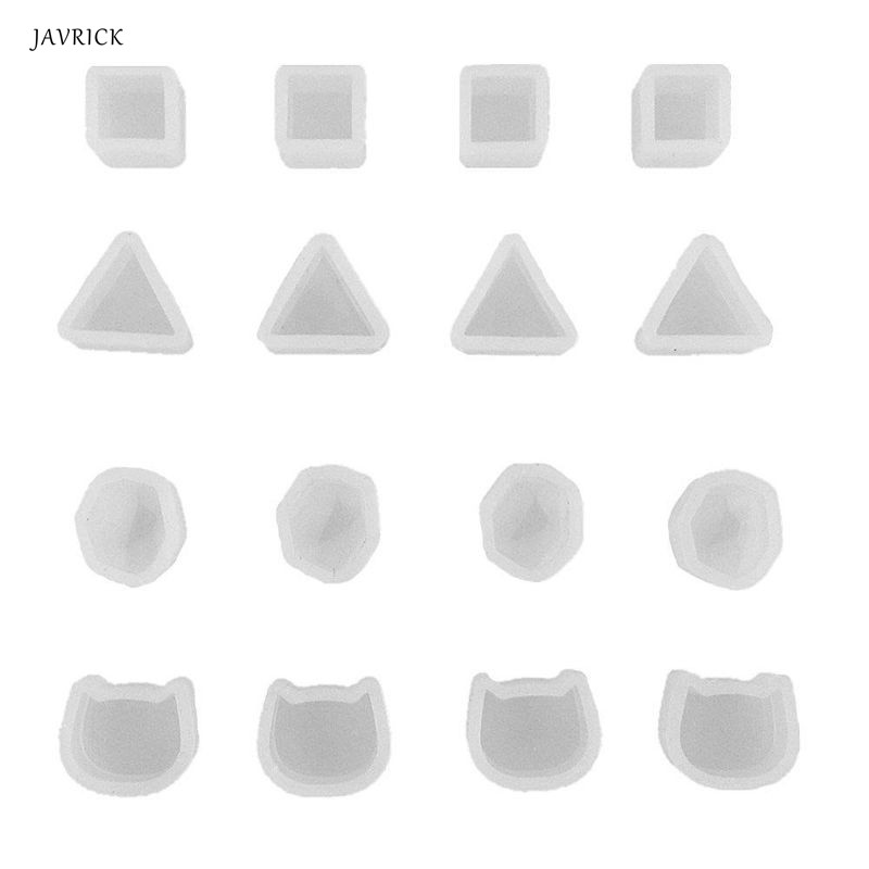 16Pcs Tiny Silicone Round Cat Sqaure Molds Jewelry Earring Necklace Pendant Mold Resin Casting Jewelry Making Tools
