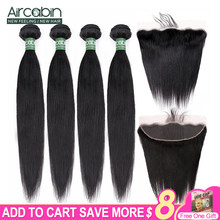 Tissage en lot brésilien Remy naturel avec Lace Frontal 13x4, Extensions de cheveux humains, 30 pouces, partie profonde avec Closure