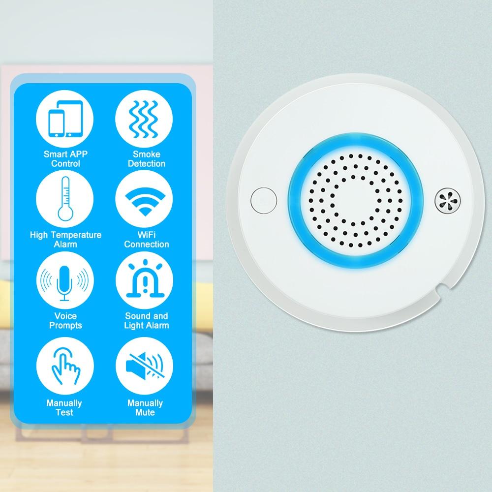 10PCS Smart WIFI Fire Smoke&Temperature Sensor Wireless Smoke Temperature Detector Alarm APP Control Home Security Alarm System