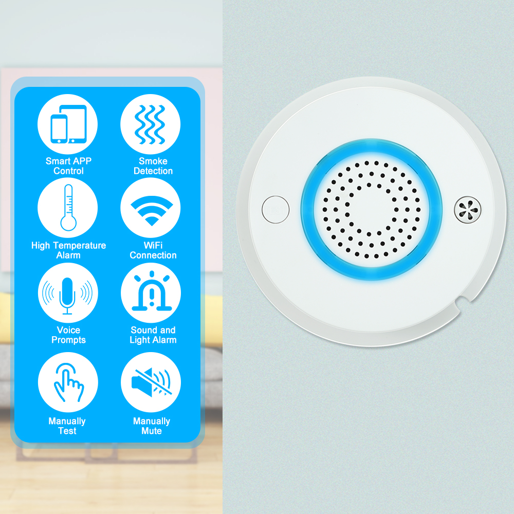 Smart Wireless WIFI+APP Fire Smoke & Temperature Sensor Wireless Smoke Temperature Detector Home Security Alarm System