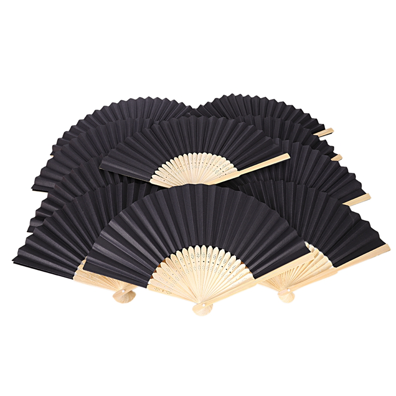 White Paper Hand Fans Bamboo Chinese Folding Pocket Fan Decor Gifts 10 Pack
