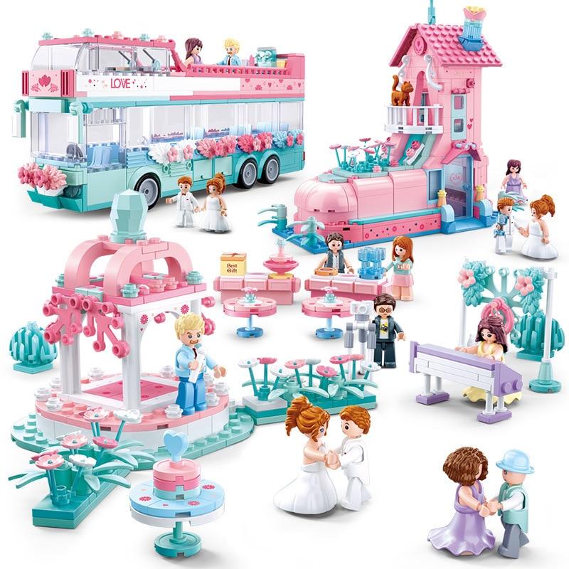 City Wedding Party Legoinglys Car Girl Friends Romantic Wedding Dress Model Building Blocks Bricks Princess Prince Toy Children