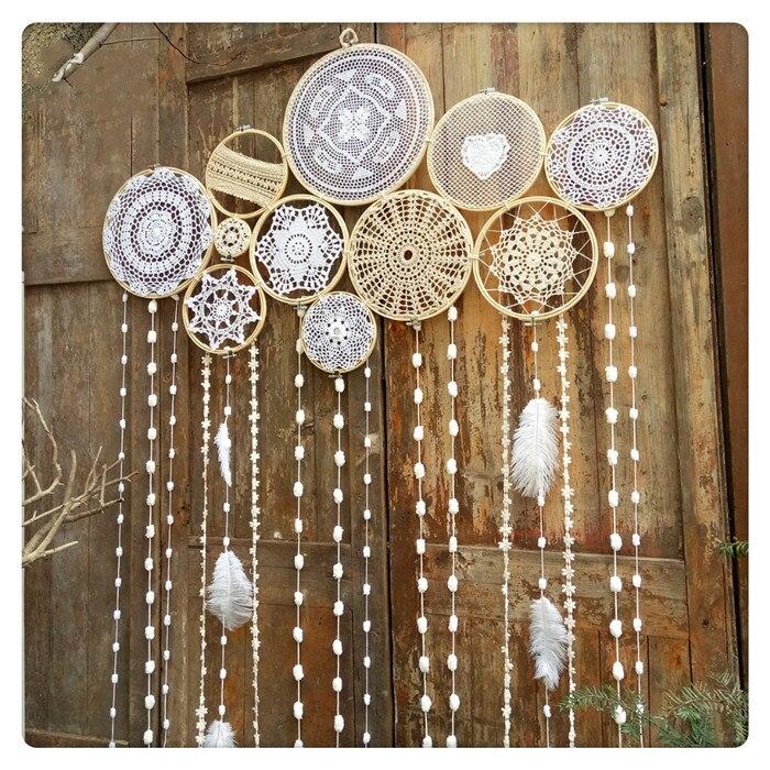 Indian Style Dreamcatcher Handmade Wind Chimes Hanging Pendant Wall Art Hanging Wedding Decoration Macrame Wall Hanging