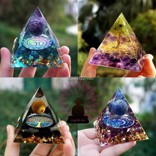 Дерево жизни ОРГОН Пирамида аметист перидот лечение кристалл энергия оргонит с защитой от ЭМП инструмент медитации